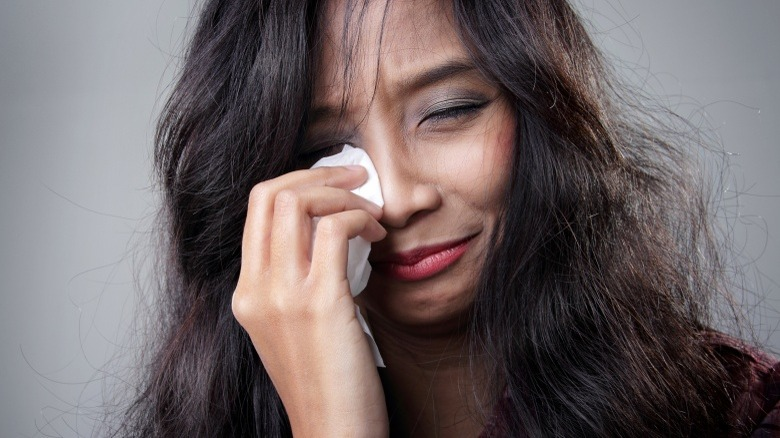 woman whining crying