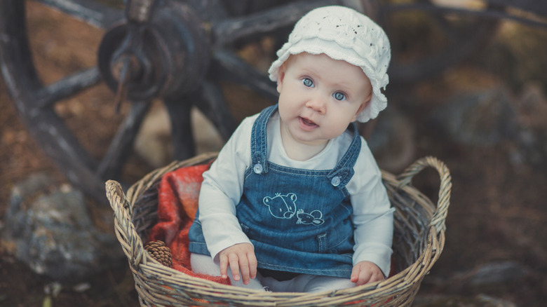 girl in basket with hat