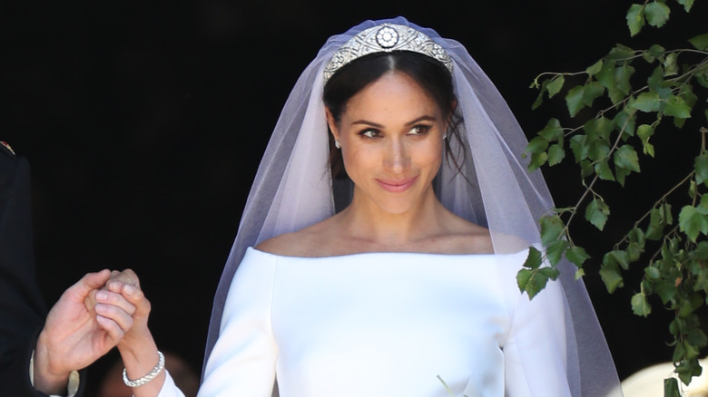 Meghan's Markle on her wedding day in royal tiara