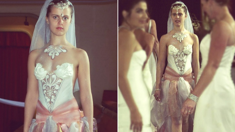 Wedding dresses that just scream tacky for Painted on wedding dress