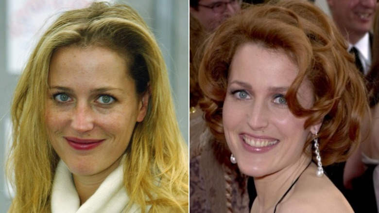 Gillian Anderson before and after natural hair