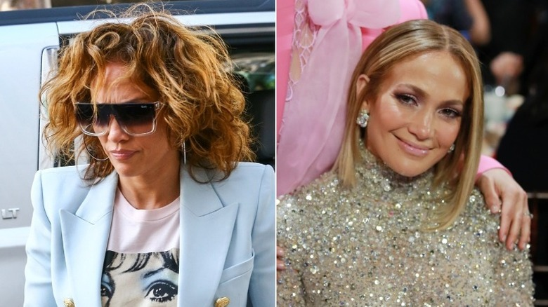 Jennifer Lopez, with natural and treated hair