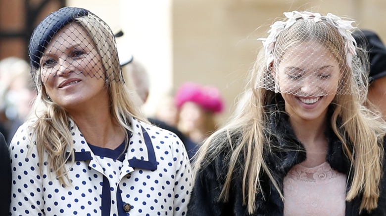 Kate Moss and Lila Grace attending Princess Eugenie's wedding