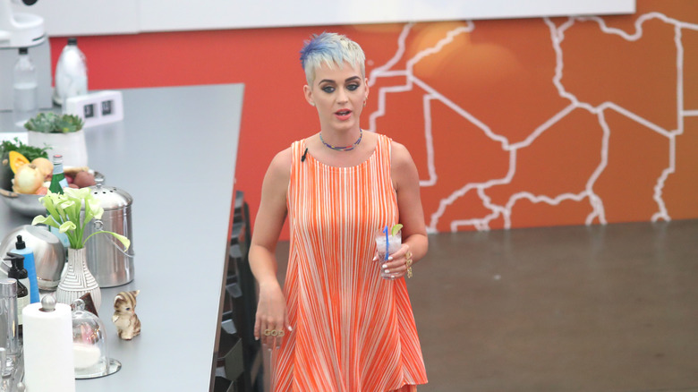 Katy Perry Wears Very Low Cut Elmo Top As She Laughs Off
