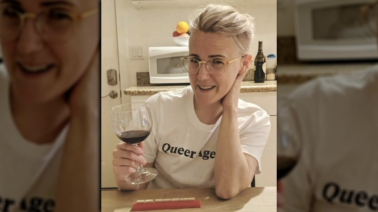 Hannah Hart with drink