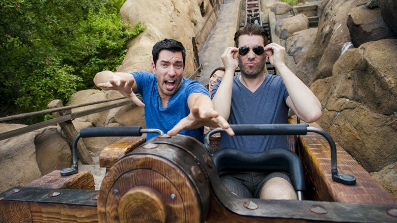Property Brothers Jonathan Scott and Drew Scott on a rollercoaster