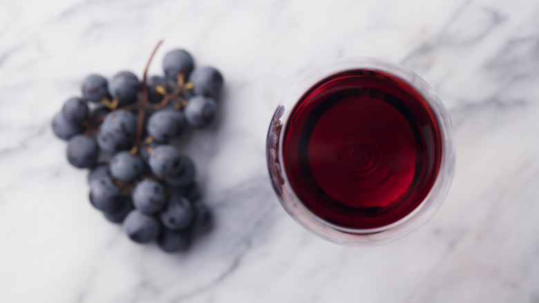 red wine and blueberries